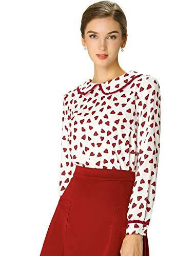 Allegra K Women's Cute Ruffle Peter Pan Collar Valentine's Day Long Sleeve Sweet Casual Blouse Tops Medium White