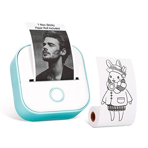 Memoking T02 Stampante Tascabile-Mini Stampante Termica Wireless Bluetooth Portatile, Stampante per Telefono in Bianco e nero per Journal Foto Note, ecc, Compatibile con iOS e Android, Verde