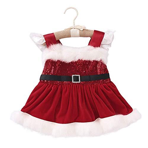 Loalirando Neugeborenen Baby Mädchen Festlich Weihnachten Kleidung Pailetten Samt Party Prinzessin Kleid, Weihnacht Rot, 0-3 Monate (Herstellergröße: 70)