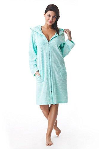 Albornoz para mujer de algodón muy suave Dorota con bolsillos, cremallera y capucha verde menta XL