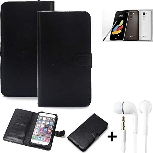 K-S-Trade® Wallet Case Handy Hülle Für LG Stylus 2 DAB+ Schutz Hülle Smartphone Flip Cover Flipstyle Tasche Schutzhülle Flipcover Slim Bumper Schwarz + In Ear Headphones
