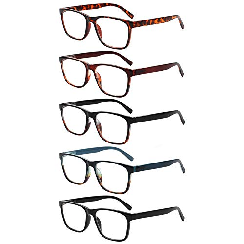 Kerecsen 5 Paare Lesenbrille Qualität Leser Frühling Scharnier Brille zum Lesen zum Männer und Frauen (1.0, 5 Farbe Mischen)
