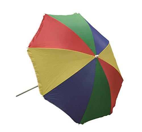 Profiline Aluminium Strandschirm 180 cm inklusive Tragetasche, mit UV-Schutz 30 Plus, Knicker, höhenverstellbar, Regenbogen, 450710