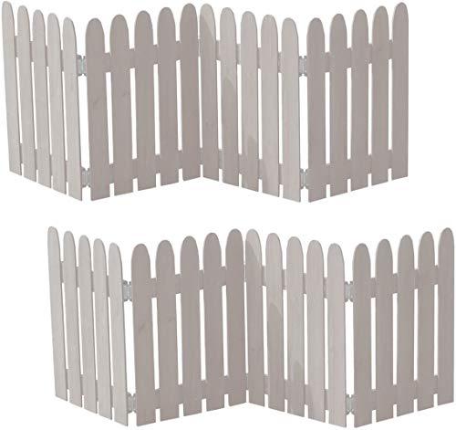ミニフェンス 折りたたみ ガーデンフェンス 木製 ホワイト 白 2枚セット 幅121 奥行1.5 高さ44 おしゃれ シンプル ガーデン仕切り 目隠し 飛び出し防止 進入禁止 イベント用 (ホワイト, 2枚組)