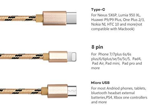 Bolatus 2Pack Multi USB Kabel 1m 3 in 1 USB Ladekabel Nylon Universal Mehrfach Ladegerät Kabel Handy Adapter Kabel mit Typ C Micro USB Kompatibel mit Smartphone, Tablets und mehr - Gold