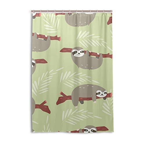 FANTAZIO Duschvorhang Faultier Muster Design Polyester Badvorhang mit dicken C-förmigen Haken für Badezimmer Wasserdicht 1 Stück 121,9 x 182,9 cm