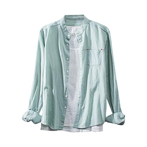Eaylis Herren T-Shirt Chinese Wind Gerade Normallackbaumwollknopf LäSsig Mit Langen ÄRmeln T-Shirt Hemd