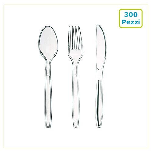 Palucart, Besteckset aus Kunststoff, transparent, Einweg-Besteck 300teiliges Besteckset: 100 Messer, 100 Löffel und 100 Gabeln, aus robustem transparentem Kunststoff