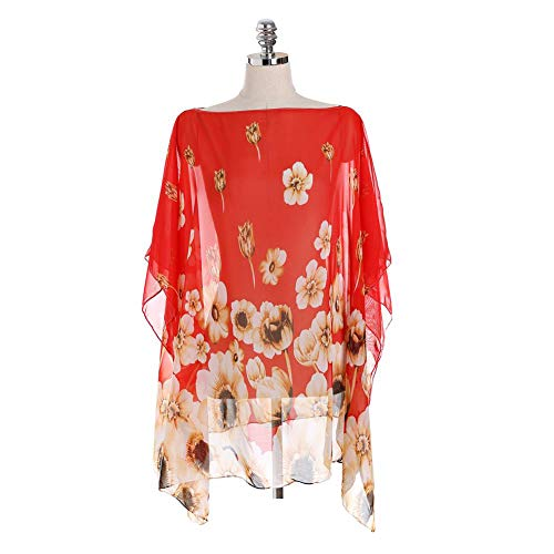 SHOUSHOU Dames zomer Kimono Cardigan Bikini Verf Floral Beach Robe Beachwear Mode Dames Lange mouwen Maxi Open gebreide jas hemd kimono mantel blouse strand Top Bikini Verkleed jurk, Rood, M