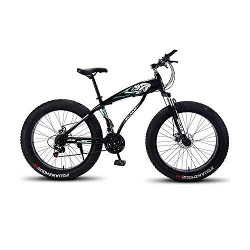 GYZLZZB Colored Rim Cross-Country Beach Snowmobile 26' Mountain Bikes,7 Speed Bicycle,Adult Fat Tire Mountain Trail Bike,Aluminium Alloy Frame Dual Full Suspension Dual Disc Brake(Black)