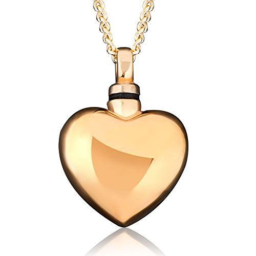 Uniqueen Cremation Jewellery Gold Heart Urn Ashes Necklace Pendant Keepsake Memorial Stainless Steel