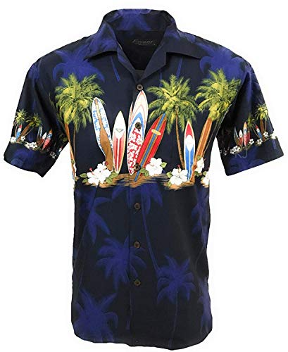 Favant Tropical Luau Beach Surfboard Print Men's Hawaiian Aloha Shirt … (X-Large, Navy)
