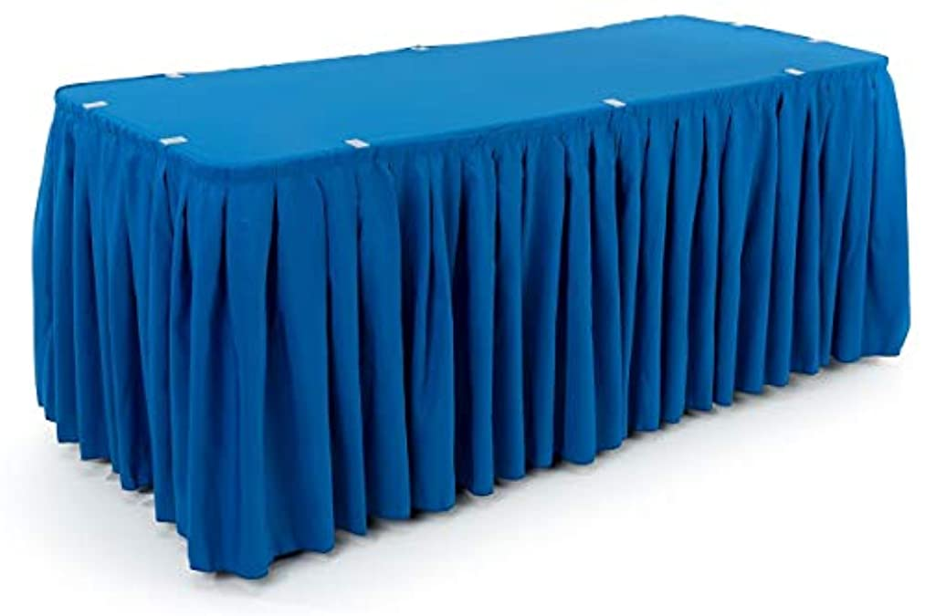 Displays2go 13.5' Royal Blue Table Covering with Box-Pleated Skirt and Table Cover for 6-Foot Rectangular Tables, Wrinkle Resistant and Machine Washable Polyester Fabric