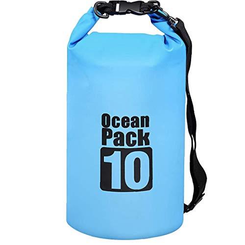 NaiCasy Bolsa Impermeable seco Piscina Mochila 10L con Correa Ajustable para el Kayak canotaje Deriva Surf Azul