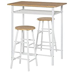 ✅THREE-PIECE SET: Formed of a tall table and two matching round stools - a place to dine morning and night. Simple design is versatile for many different interiors. ✅COMPACT: Chairs tuck neatly underneath table, helping to save space easily. Perfect ...