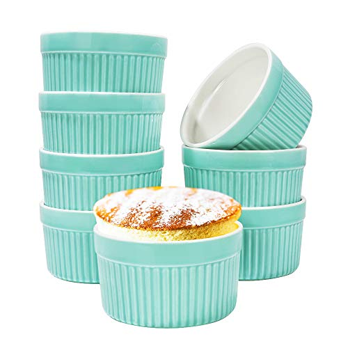 6oz Porcelain Ramekins, SZUAH 3.5 INCH Classic Style Baking Ramekins for Creme Brulee, Souffle, Appetizer, Custard, Pudding, Dipping Bowl, Set of 8, Blue