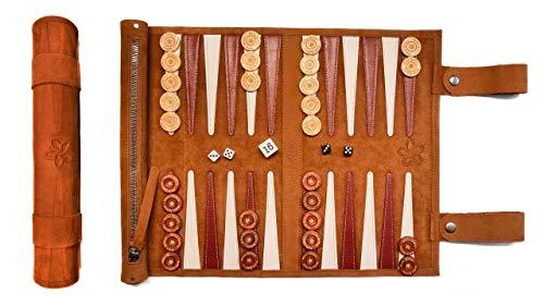 Melia Games Backgammon zum Rollen - Reise-Backgammon aus feinstem Nubuk Echt-Leder mit handgefertigten Holzspielsteinen - Farbe: Braun (Whiskey)