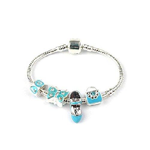 Bling Rocks Liberty Charms Childrens 'True Blue' Silver Plated Charm/Bead Bracelet. Gift Box & Velvet Pouch Girls Birthday Gift/Stocking Filler 16cm (Other