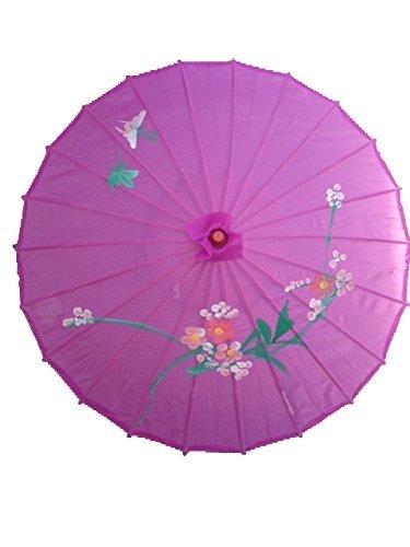 "NO:1 Bambus chinesische japanische Stoffe Regenschirm Sonnenschirm 32"" Lila"