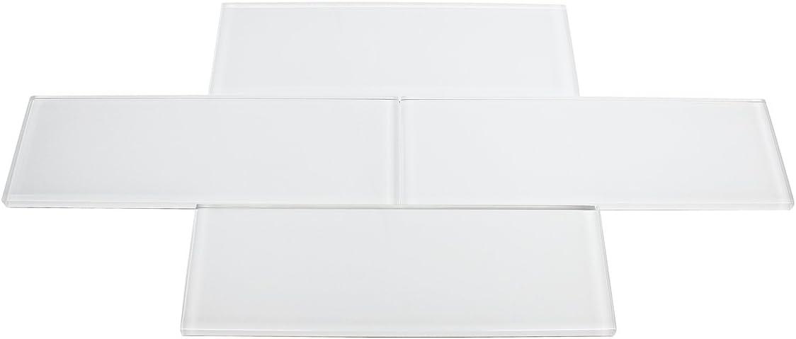 Super White Glossy - 3x9 Bright White Subway Glass Tile - Bathro