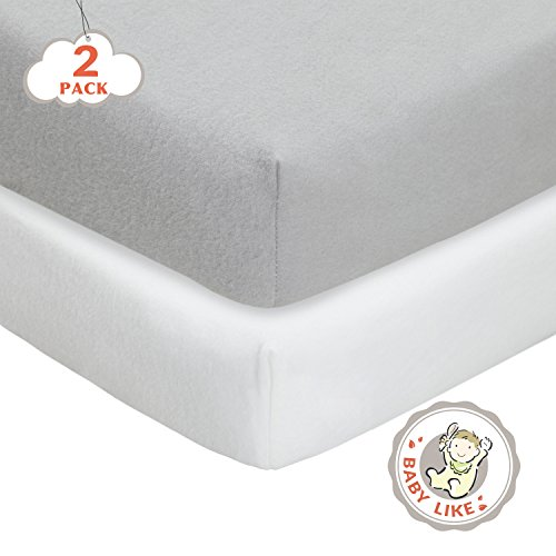 Sale!! TillYou 2 Pack Fitted Crib Sheet-100% Woven Cotton Flannel(Breathable and Soft), Fit Standard...