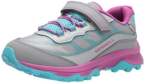 Merrell OAKCREEK Low LACE Waterproof Hiking Shoe, Grey/Silver/Turq, 2 US Unisex Big Kid