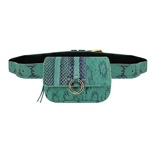 Milya Damen Multi Schlangenmuster Hüfttasche Taillenbeutel Bauchtasche PU Leder Kette Umhängetasche Grün