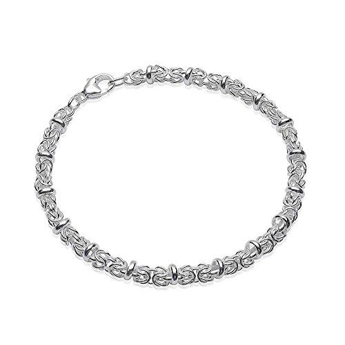 MATERIA Damen Armband Silber 925 Königskette 5mm 8,8g rhodiniert 18-22cm längenverstellbar + Box #SA-29