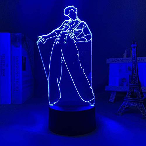 Nuevo 2021 Luz de noche 3D Harry Styles Ventilador Regalo Decoración de dormitorio Luz LED Sensor táctil Lámpara de escritorio que cambia de color