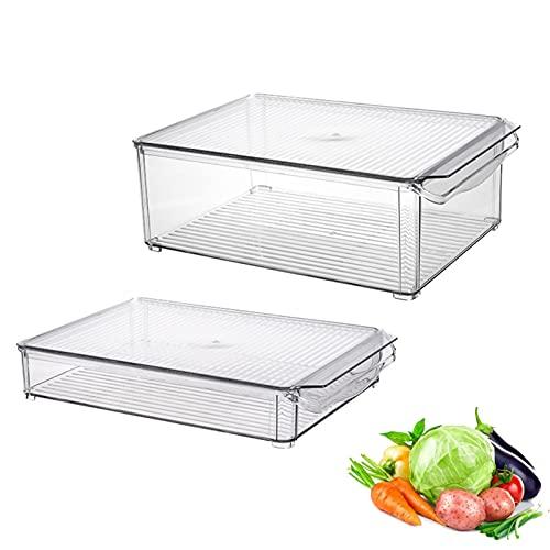Fonduo - Bandeja de almacenamiento para nevera con tapa – Paquete de 2 bandejas de plástico para alimentos – Organizador de nevera con asas integradas – Transparente (3 L + 6 L)