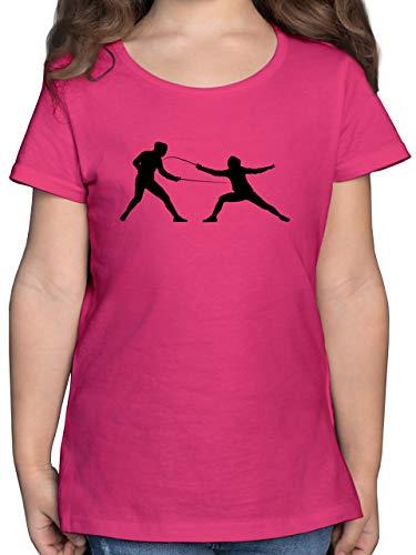 Sport Kind - Fechten - 140 (9/11 Jahre) - Fuchsia - mädchen fechten - F131K - Mädchen Kinder T-Shirt