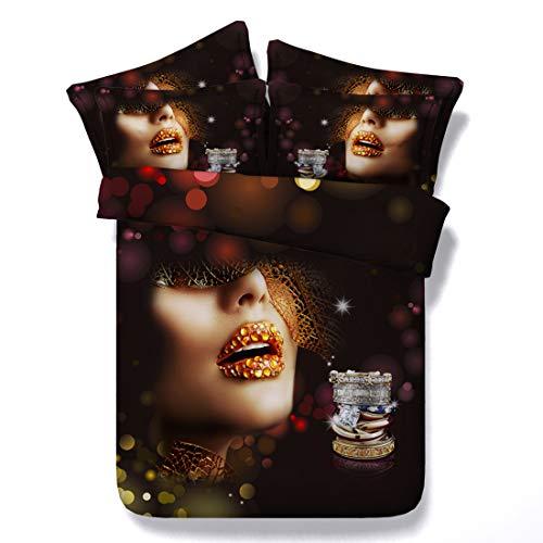 Cnspin 3D Bettbezug-Set Bequem und weich Große schönheit Muster Bettwäsche Set Mode 100% mikrofaser 3 stücke Bettbezug * 1 Kissenbezug * 2,A,200CMX230CM