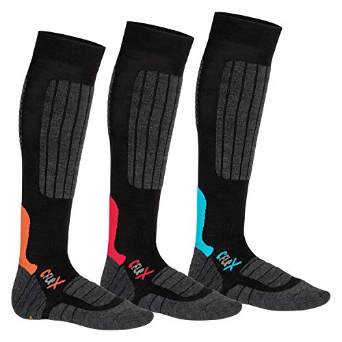 CFLEX Damen und Herren Ski- und Snowboard Socken (3 Paar), Kniestrümpfe High Perfomance - Mix 43-46
