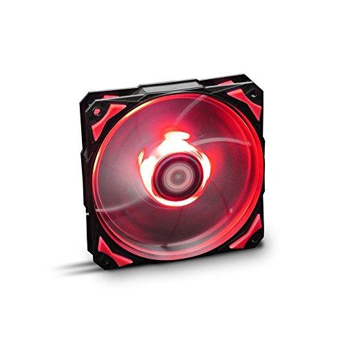 Nox Hummer H-FAN -NXHUMMERF120LR- Ventilador para Caja PC 120mm, LEDs brillantes, 7 aspas traslúcidas, rodamientos hidráulicos, esquinas soporte goma, color rojo - negro