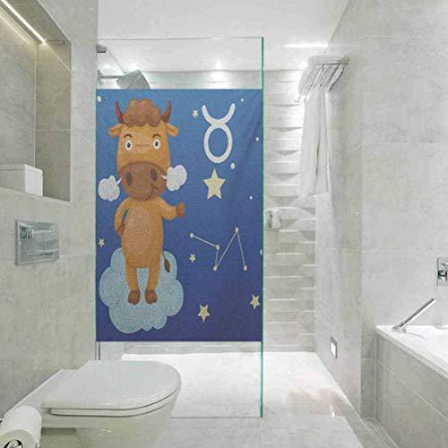 Pegatina de privacidad para el hogar, decoración del baño, diseño del zodiaco Tauro, personaje de toro sobre nube azul en cielo con St, fácil de instalar y reutilizar película de vidrio, 45 x 89,9 cm
