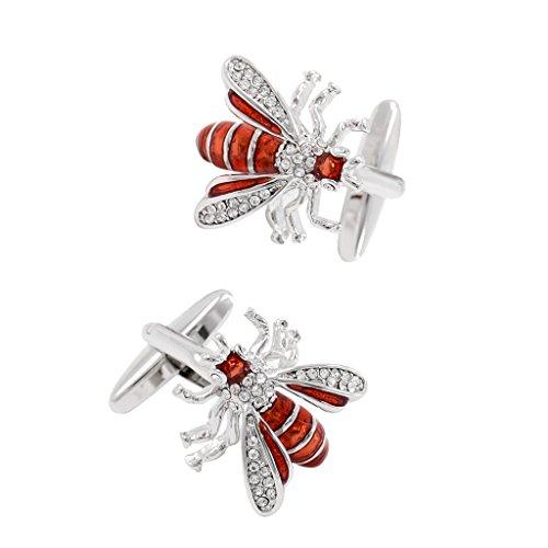 harayaa Gemelos de Tendencia de Tema Animal para Hombre Gemelos de Abeja de Insecto de Diamantes de Imitación Esmaltados