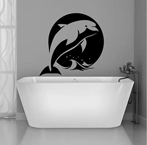The Ocean Sea Animal Dolphin Sonnenaufgang Wandaufkleber Vinyl Home Decor Badezimmer Aquarium Kinderzimmer Aufkleber Wasserdichte Tapete 42x42cm