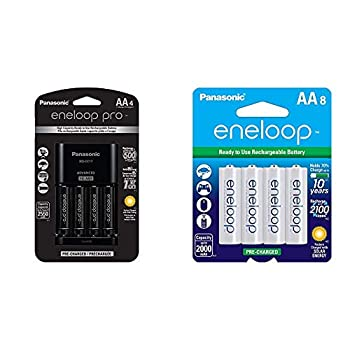 Panasonic K-KJ17KHCA4A Advanced Individual Cell Battery Charger Pack with 4 AA eneloop pro High Capacity Ni-MH Rechargeable Batteries,Black,4-Pack & Panasonic AA 2100 Cycle Ni-MH 8 Pack