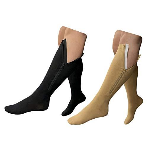 HealthyNees 15-20 mmHg Zipper Compression Plus Size Calf Leg Closed Toe Socks (Combo, 5XL)