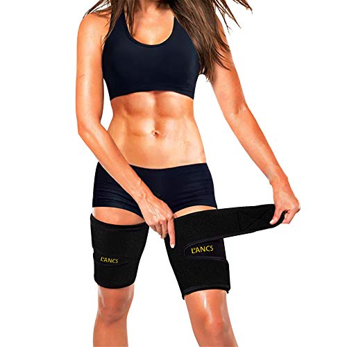 LANCS Neoprene Thigh Trimmer Fat Burner Wraps Compression Sleeves Sweat Thigh Slimmer Braces Support for Workout Exercise(Pair)