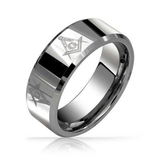 Bling Jewelry Cuadrado & Francmasón Brújula Masónica Banda Boda Anillo De Tungsteno para Los Hombres De Tono Plata 8Mm Ajuste Confort