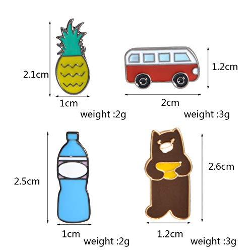 JTXZD broche 9 stuks/set S bus ananas in box Bear Swan Mountain Pin Denim Jacket Pin Badge Cartoon