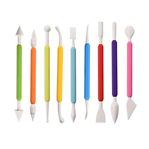 9 pezzi strumenti per glassa fondente per torta, strumenti per modellare torta a doppia estremità in plastica, utilizzare per macchina per la produzione di zucchero