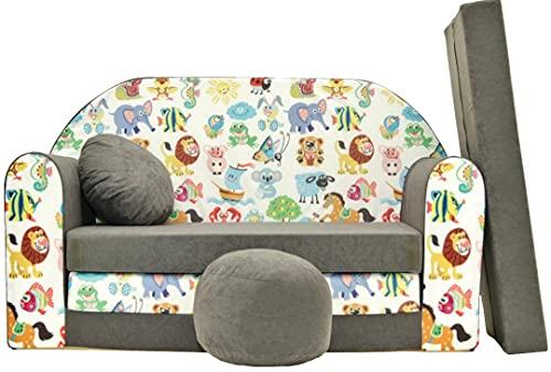 Pro Cosmo- Sofá Cama para niñosA5con puf, reposapiés y Almohada, Tela Multicolor, 168x 98x 60cm