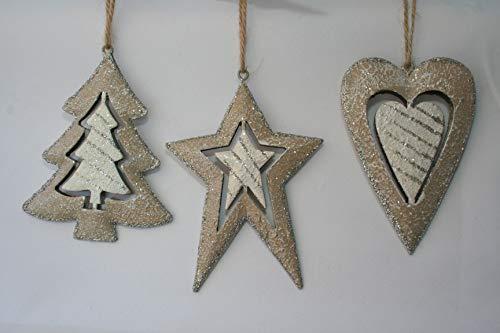 Formano Herz, Stern und Baum, Hänger, Weihnachtsdeko, Fensterdeko, 3 Stück Sortiert, 11cm, 536785
