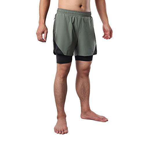 Pantalones Cortos para Correr 2 en 1 para Hombre,Maratón de Un Tercio de Shorts Transpirables de Secado Rápido Deportivos de Entrenamiento de Gimnasio MTB Ciclismo Pantalones C(Size:XXL,Color:Verde)