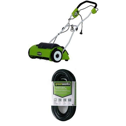 Greenworks Escarificador inalámbrico de 40 V, ventilador eléctrico sin batería ni cargador, compatible con batería de ion de litio de 35 cm, ancho de trabajo de 3600 rpm,con saco de 20 l