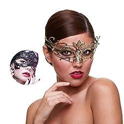 Golden Lotus Masquerade Mask With Rhinestone Venetian Party