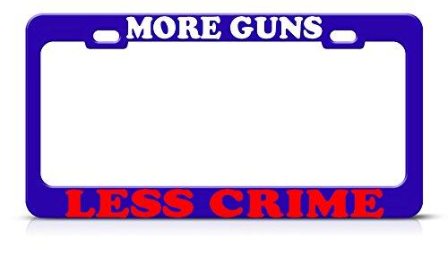 Meer Guns Minder Misdaad Metalen Blauwe Plaat Frame Gun 2 Amendement Tag Border Perfect voor Mannen Vrouwen Auto garadge Decor