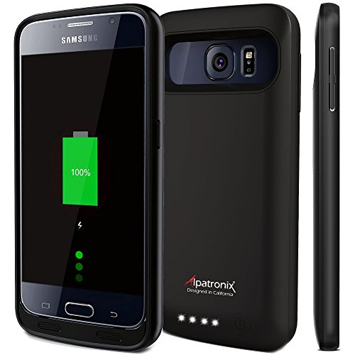 Alpatronix Galaxy S6 Battery Case, 3500mAh Slim Portable Protective Extended Charging Cover Rechargeable External Backup Charger Compatible with Samsung Galaxy S6 (5.1 inch) BX410 - (Black)